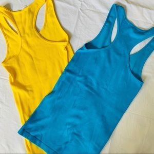 Bright Yellow & Blue Ribbed Racerback Tank Tops S